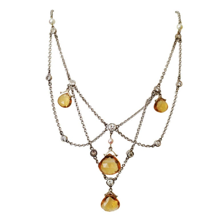 Diamond Citrine Briolette Pearl Gold Festoon Necklace 1