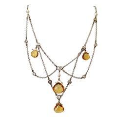 Diamond Citrine Briolette Pearl Gold Festoon Necklace Estate Fine Jewelry