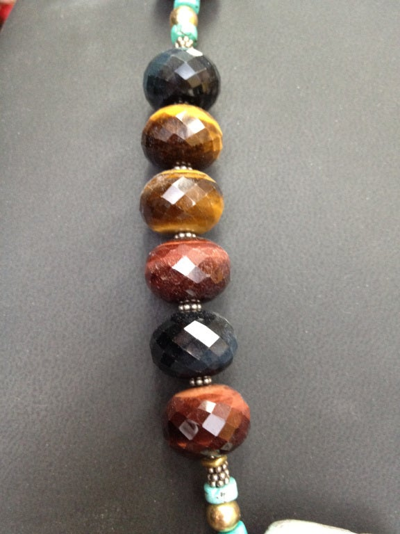Modernist Multi-Colored Tiger Eye Hemimorphite Netsuke Statement Necklace For Sale