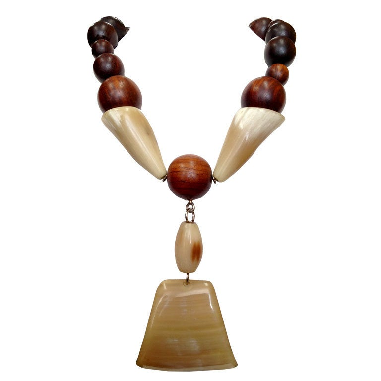 Modernist One-of-a-Kind Natural Wood and Horn Necklace 1