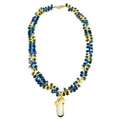 Sapphire and Citrine Briolettes Pearl Yellow Gold Necklace Estate Fine Jewelry