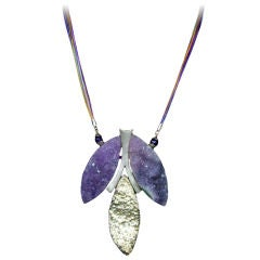 Natural Amethyst Quartz and Sterling Silver Statement Necklace