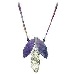 Unique Natural Amethyst Quartz Sterling Silver Necklace