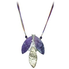 Natural Amethyst Quartz Sterling Silver Statement Necklace Estate Fine Jewelry