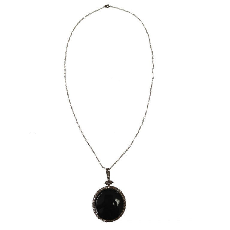 Timeless Edwardian Onyx Rose-Cut Diamond Silver Gold Pendant 2
