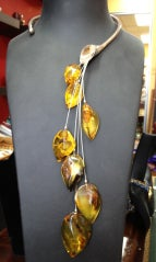 Natural Genuine Amber Cascade Silver Lily Necklace
