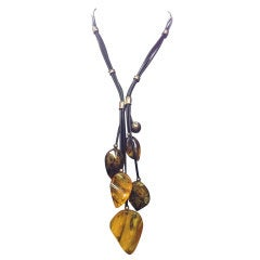 Natural Amber Cascade Sterling Silver and Leather Necklace