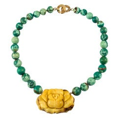 Natural Turquoise Bead Necklace centered by Hand Carved Amber