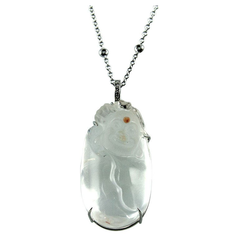 Laughing Buddha Crystal and Diamond Gold Statement Pendant Necklace For Sale