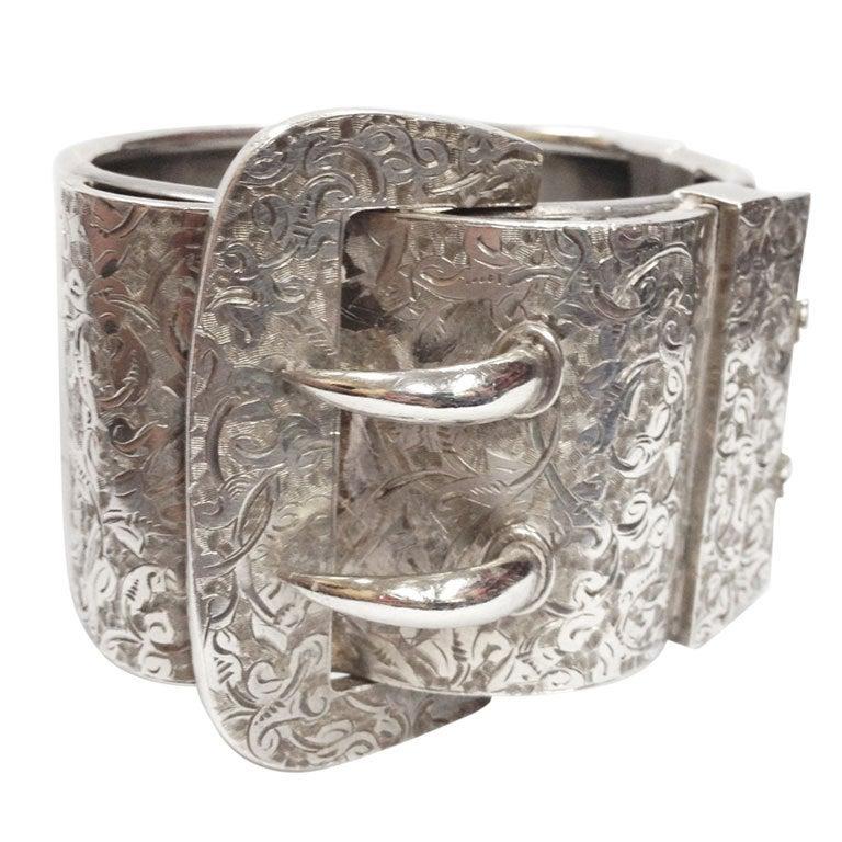 Victorian Hand Engraved Sterling Silver Buckle Bracelet At