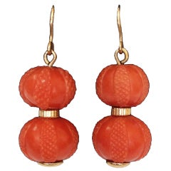 Victorian Coral Double Ball Gold Earrings