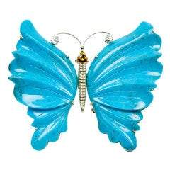 Turquoise Gold Butterfly Brooch Pin Pendant