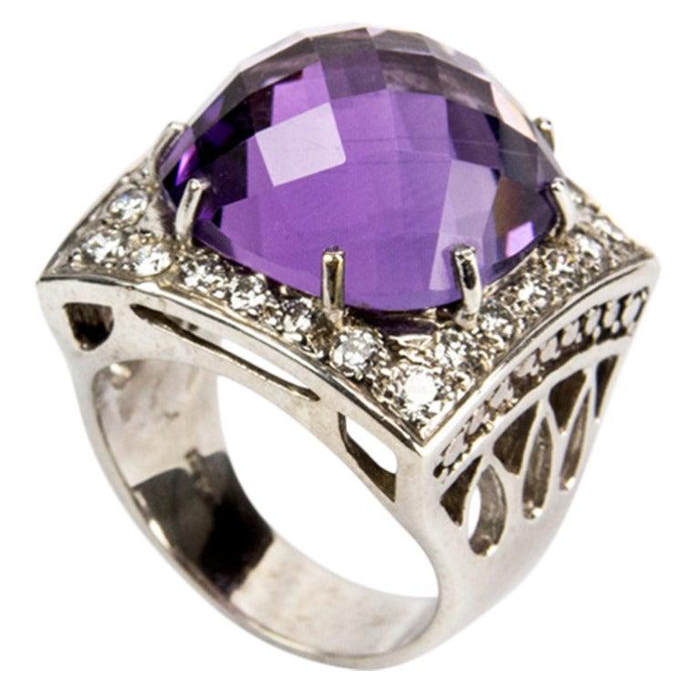 Amethyst Diamond Gold Statement Ring
