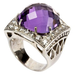 Amethyst and Diamond Gold Statement Ring Estate Fine Jewelry
