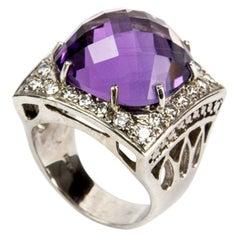 Amethyst Diamond Gold Statement Ring Estate Fine Jewelry