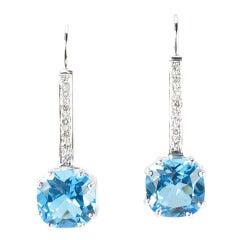 Cushion Cut Blue Topaz Diamond Gold Drop Earrings