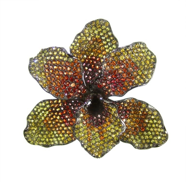 Vintage citrine orchid floral sterling silver brooch pin at 1stdibs