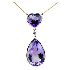 Heart and Teardrop Amethyst Diamond Gold Pendant Necklace Estate Fine Jewelry