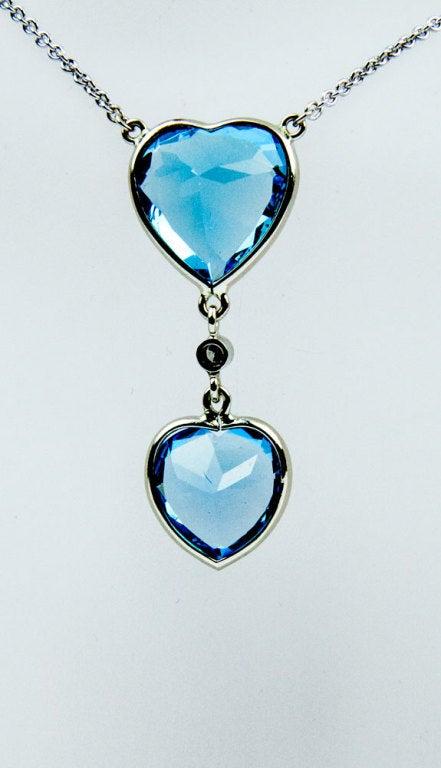 Beautiful Blue Topaz Heart Gold Pendant 2