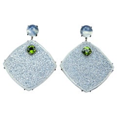 Finely Carved Icy Jade Peridot Cat's Eye Drop Earrings