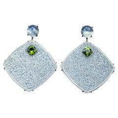 Icy Jade Peridot Cat's Eye Gold Drop Earrings