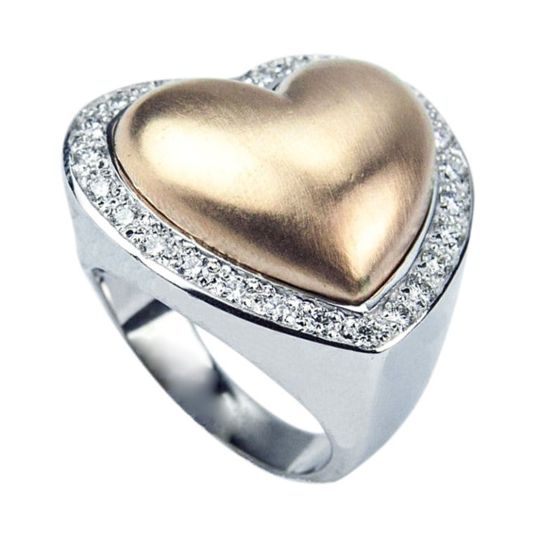 Beautiful Heart within a Heart Diamond Gold Ring For Sale at 1stdibs