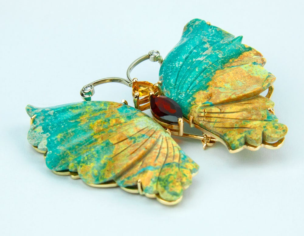 Outstanding hand carved Natural Mottled Turquoise Butterfly Pin Pendant; mounted in 14k yellow gold; totally handmade; measuring approx. 2.4