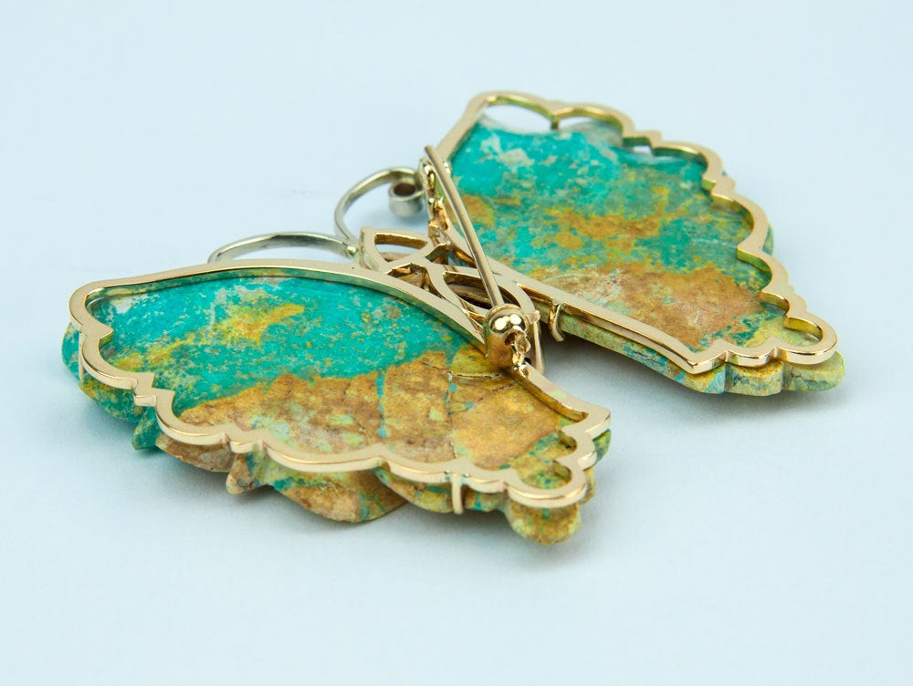 Beautiful Turquoise Gold Butterfly Statement Brooch Pin Pendant In New Condition For Sale In Montreal, QC