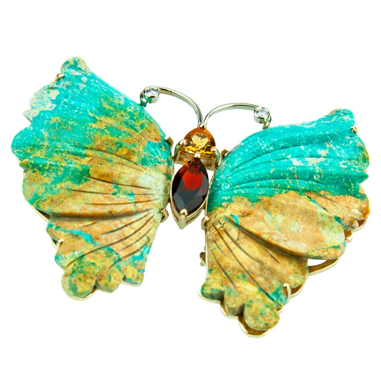 Beautiful Turquoise Gold Butterfly Statement Brooch Pin Pendant For Sale