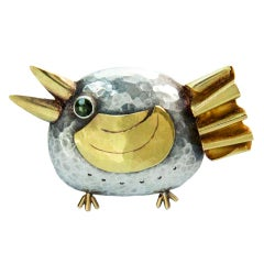 Walter Schluep Figural Sterling Gold Bird Pin
