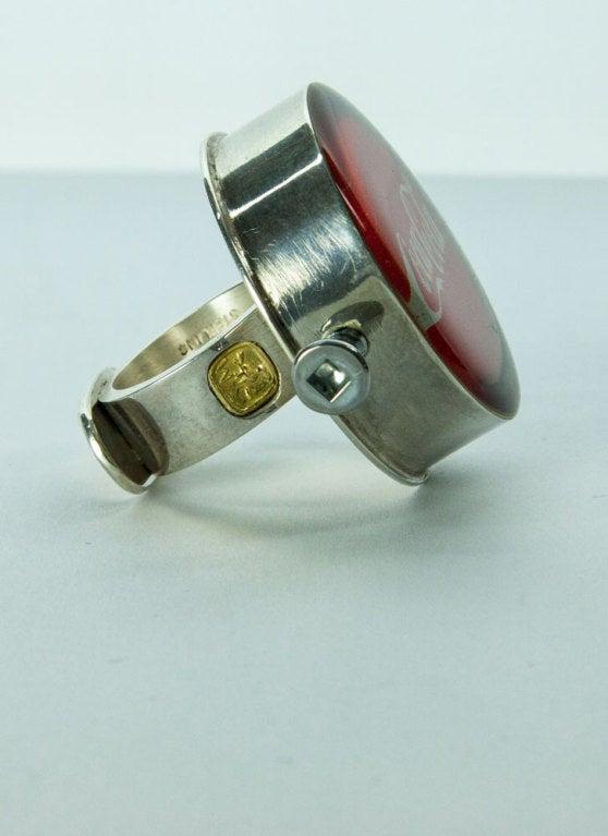 Rare Walter Schluep Coca-Cola Sterling Silver Ring 2