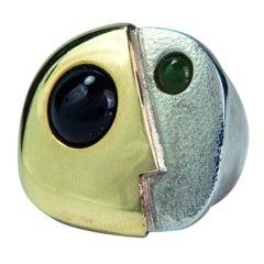 Rare Walter Schluep Figural Face Gold Silver Ring