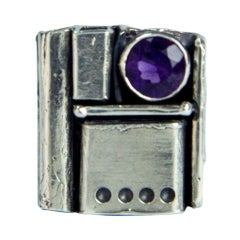 Walter Schluep Amethyst Pearl Sterling Silver Ring