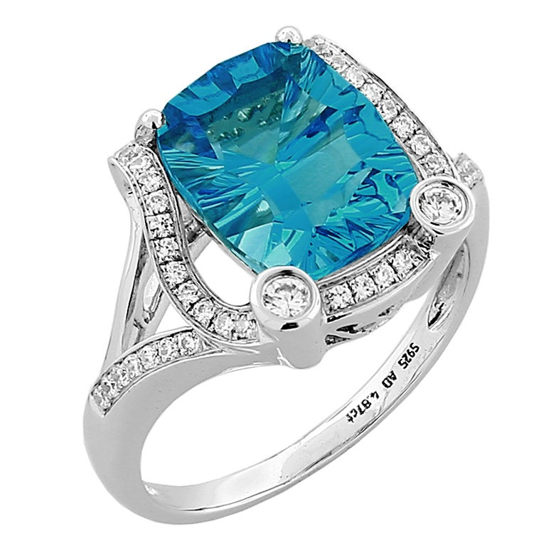 Cushion Cut Swiss Blue Topaz Diamond Gold Ring 1