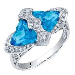 Beautiful Blue Topaz Diamond Gold Ring