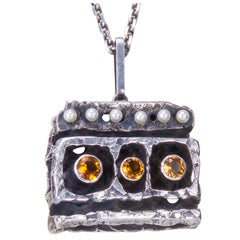 Walter Schluep Sterling Silver Citrine Pendant Necklace Fine Estate Jewelry