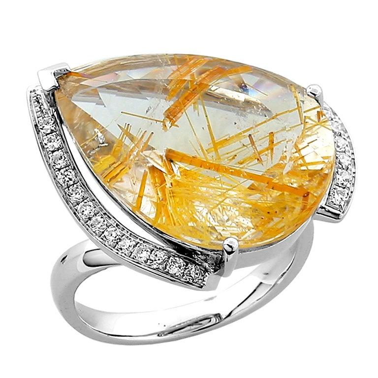Teardrop Rutilated Quartz Diamond Gold Ring at 1stdibs