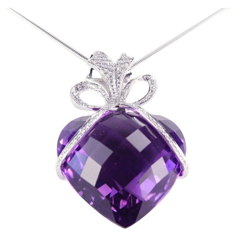 amethyst diamond gold heart bow pendant necklace at 1stdibs