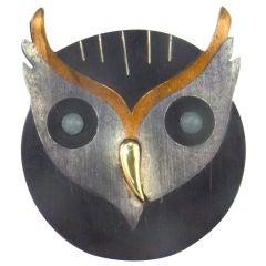 Fabulous Vntage Retro Mixed Metal Owl Pin/Pendant