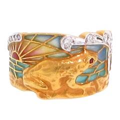 Whimsical  Plique-à-Jour Enamel Gold Frog Ring