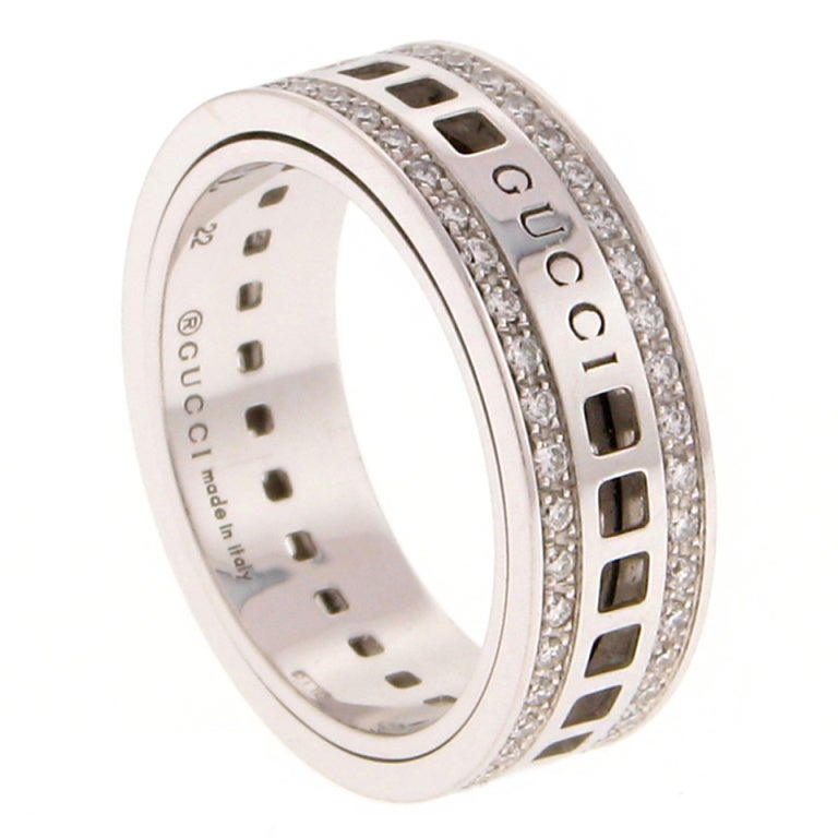 Original Gucci Unisex Diamond Spinning Gold Band Ring At