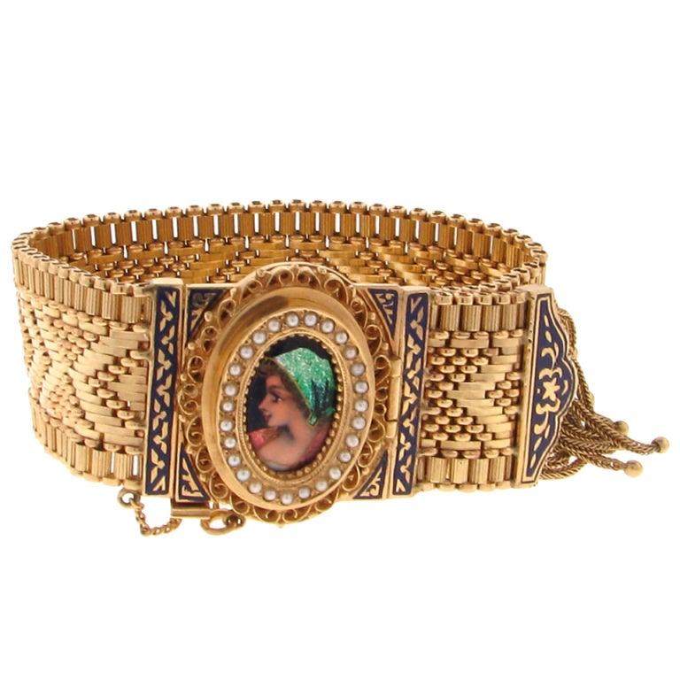 Beautiful Enamel Portrait Gold Bracelet Watch at 1stdibs
