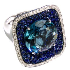 Sensational Blue Topaz Sapphire Diamond Gold Cluster Ring