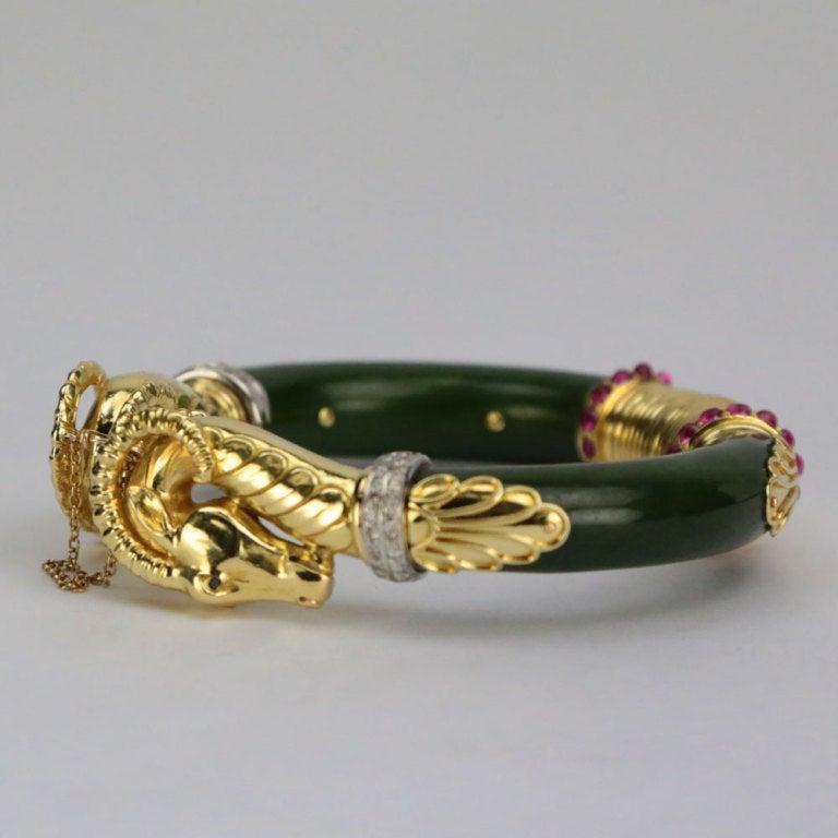4919306147a Beautiful Double Ram's Head 14k yellow gold and Jade Bangle Bracelet, set  with twenty-