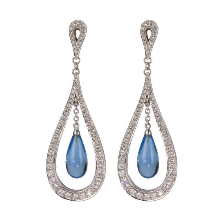 Blue Topaz Diamond Gold Dangle Earrings At 1stdibs