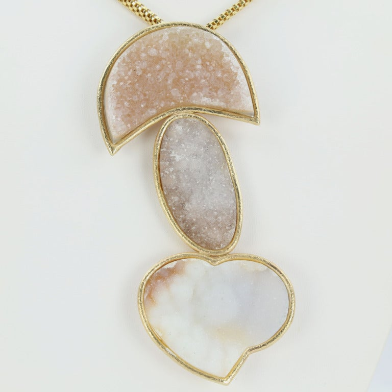 Unique One-of-a-Kind Pendant Necklace with a Heart, comprising three fabulous Free-form Natural Druzies, set in 14k yellow gold, beautifully hand crafted mounting; suspended by an oval 18k (750 stamped) yellow gold mesh chain, measuring: 17.25