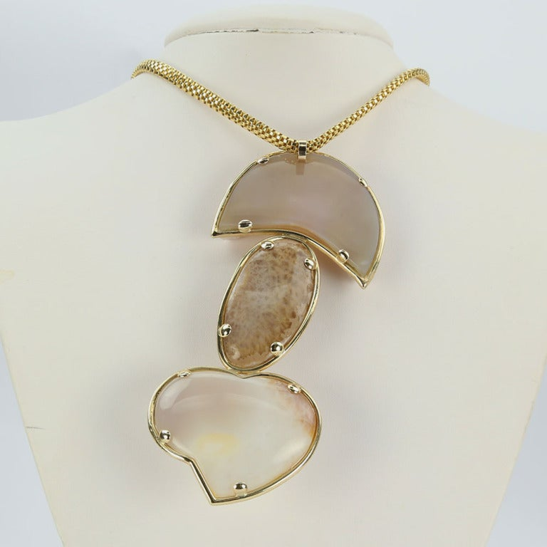 Women's Druzy Gold Statement Pendant Necklace with Heart For Sale