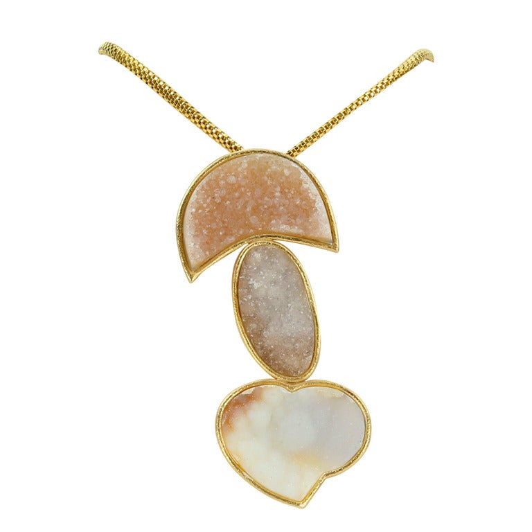 Druzy Gold Statement Pendant Necklace with Heart