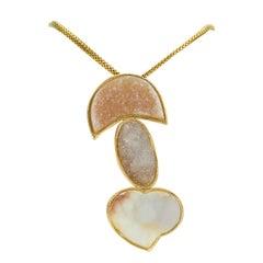 Druzy Hearts Gold Necklace Fine Estate Jewelry