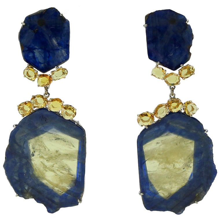 blue and yellow sapphire slice drop gold earrings at 1stdibs